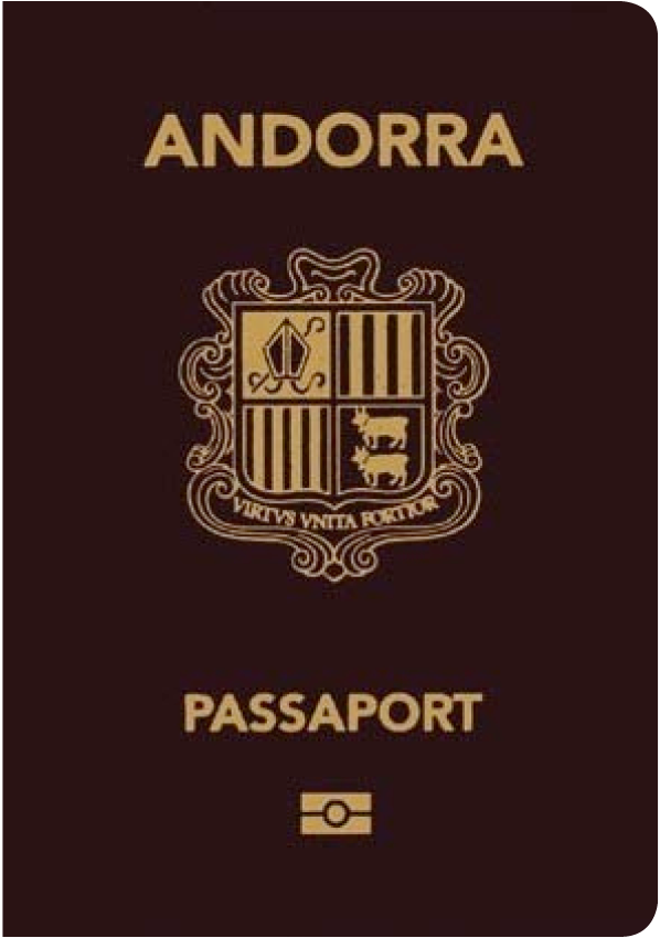 A regular or ordinary Andorran passport - Front side