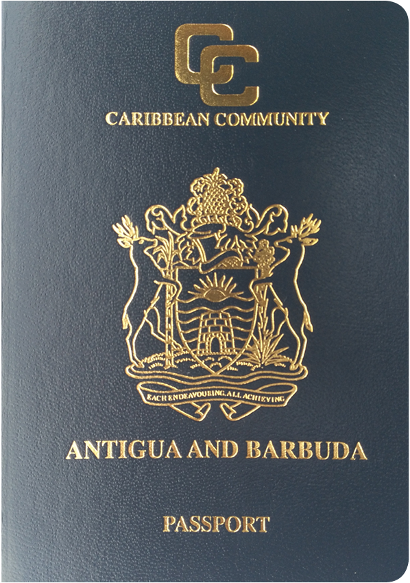 A regular or ordinary Antigua and Barbuda passport - Front side