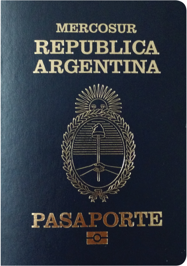 A regular or ordinary Argentinian passport - Front side