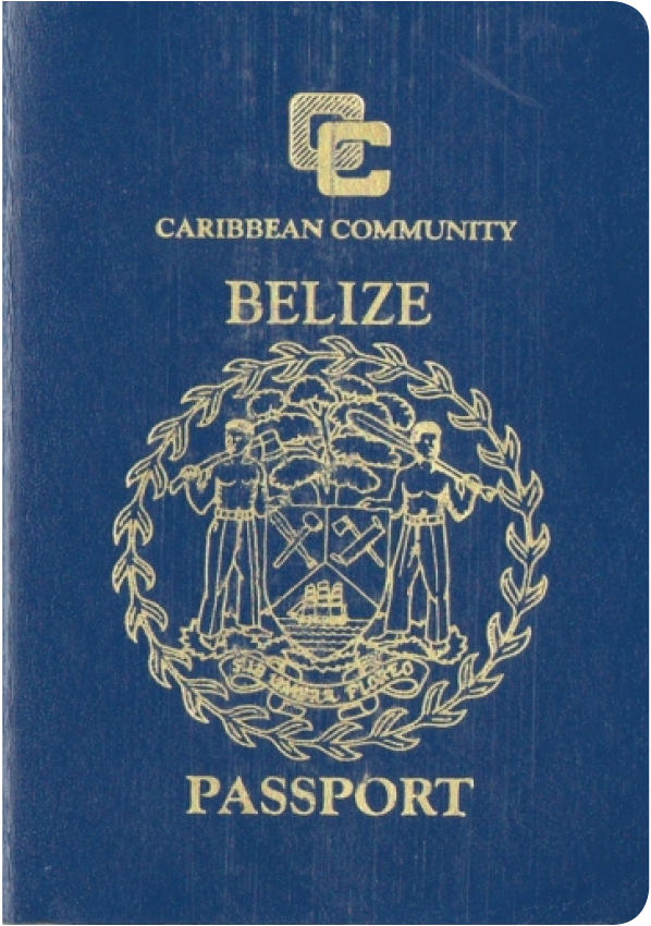 A regular or ordinary Belize passport - Front side