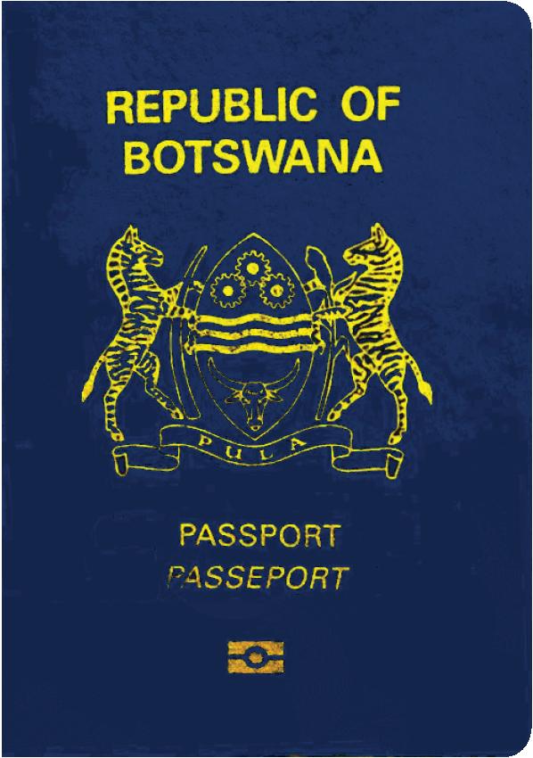 A regular or ordinary Botswana passport - Front side