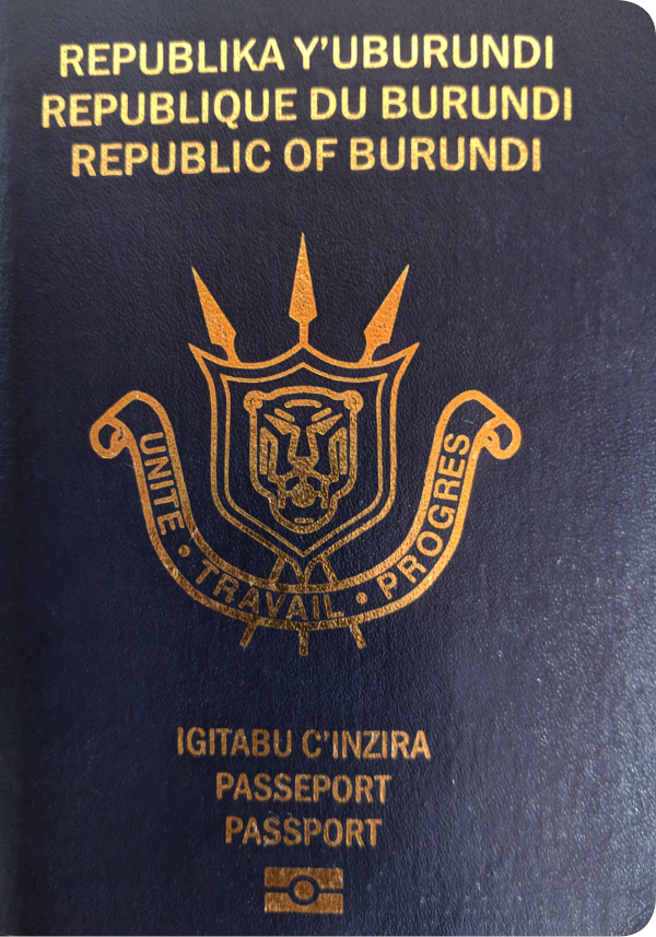 A regular or ordinary burundi passport - Front side