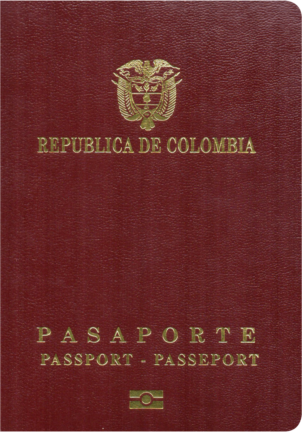 A regular or ordinary Colombian passport - Front side