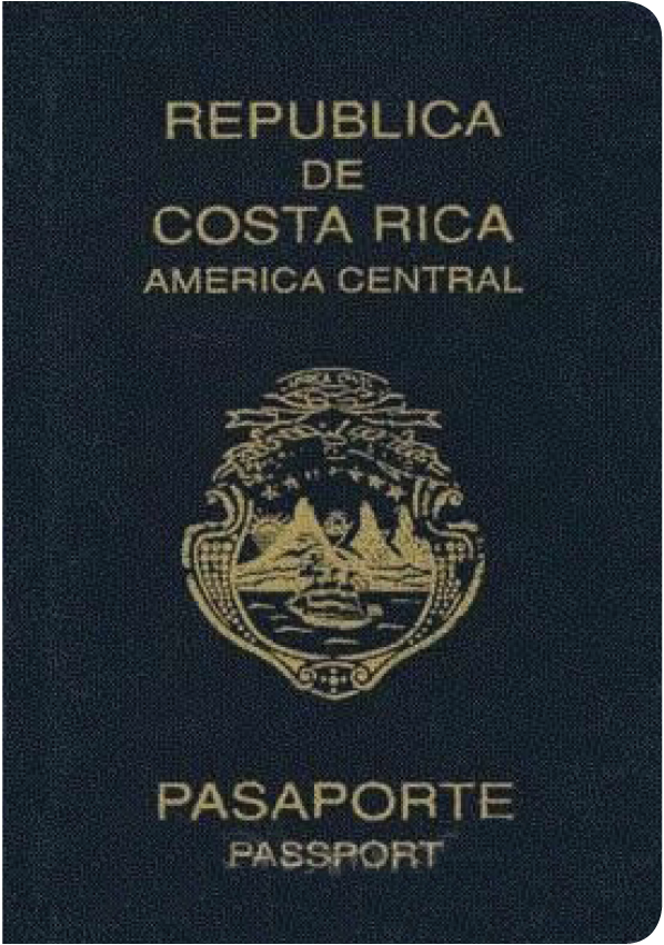 A regular or ordinary Costa Rican passport - Front side