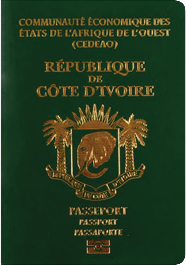 A regular or ordinary cote d'ivoire passport - Front side