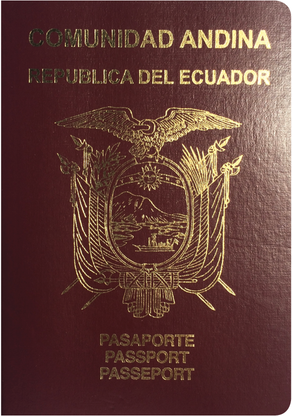 A regular or ordinary Ecuadorian passport - Front side