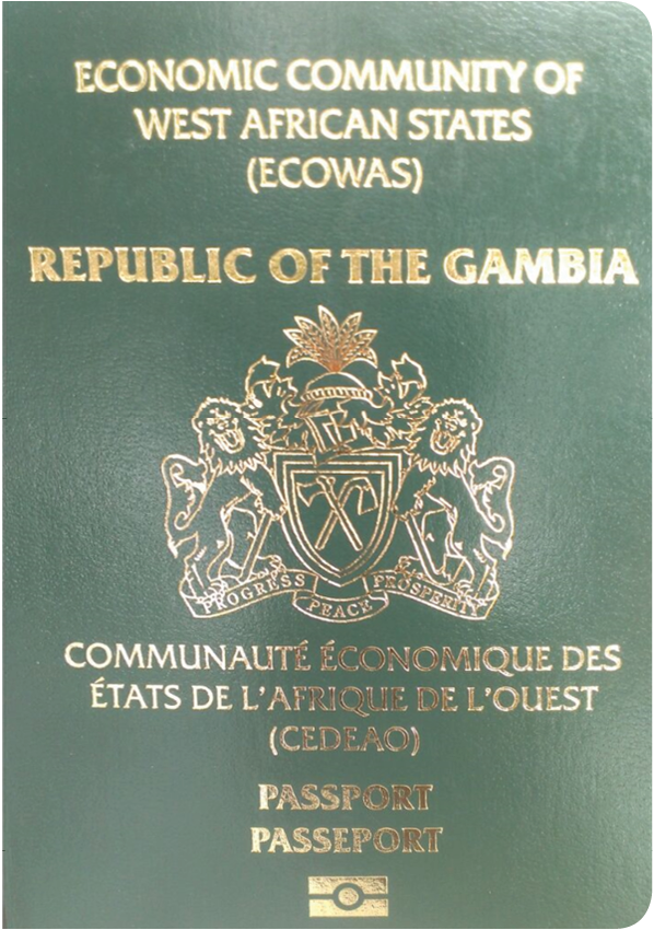 A regular or ordinary Gambian passport - Front side