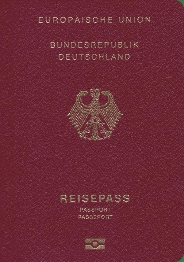 A regular or ordinary German passport - Front side
