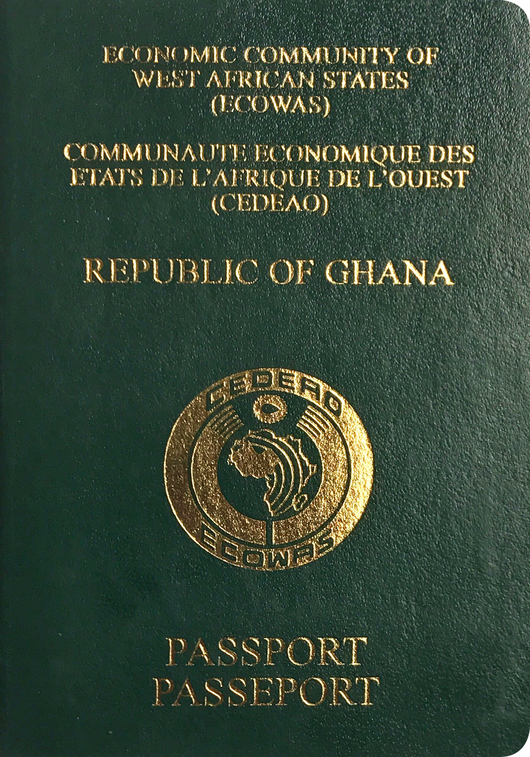 A regular or ordinary Ghanaian passport - Front side