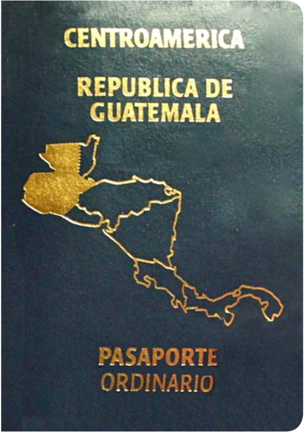 A regular or ordinary Guatemalan passport - Front side
