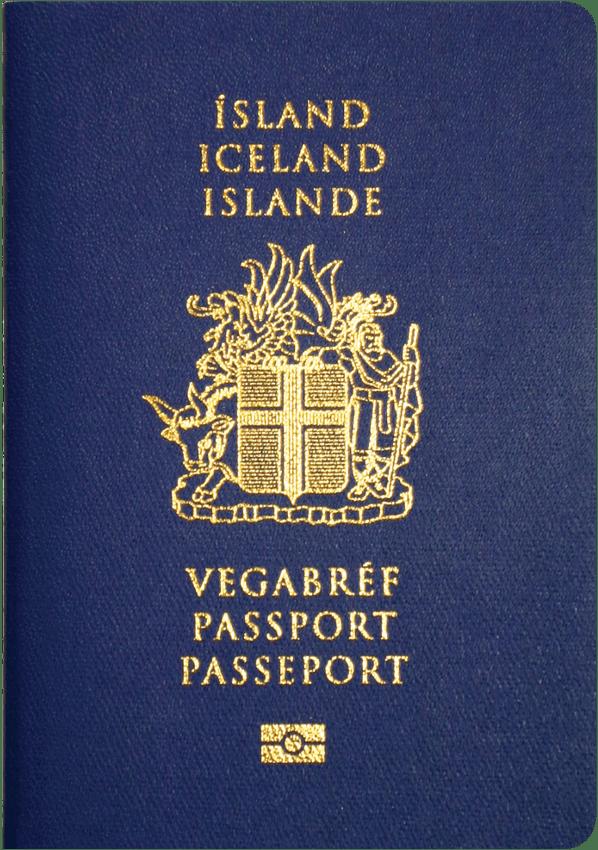 A regular or ordinary Icelandic passport - Front side