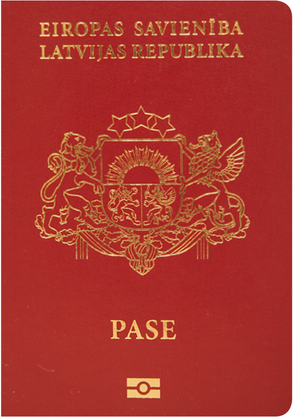 A regular or ordinary Latvian passport - Front side