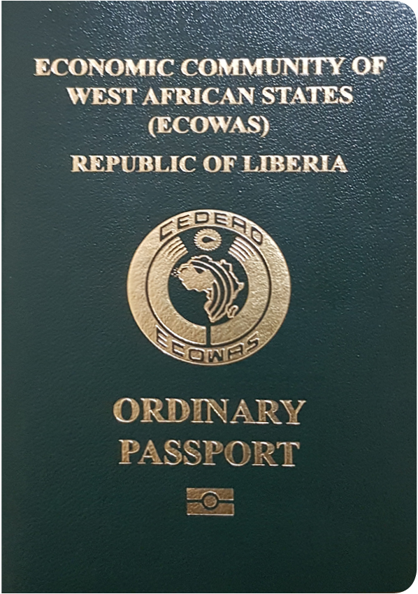 A regular or ordinary Liberian passport - Front side