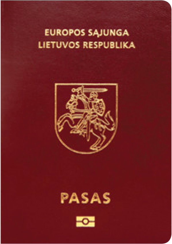 A regular or ordinary Lithuanian passport - Front side