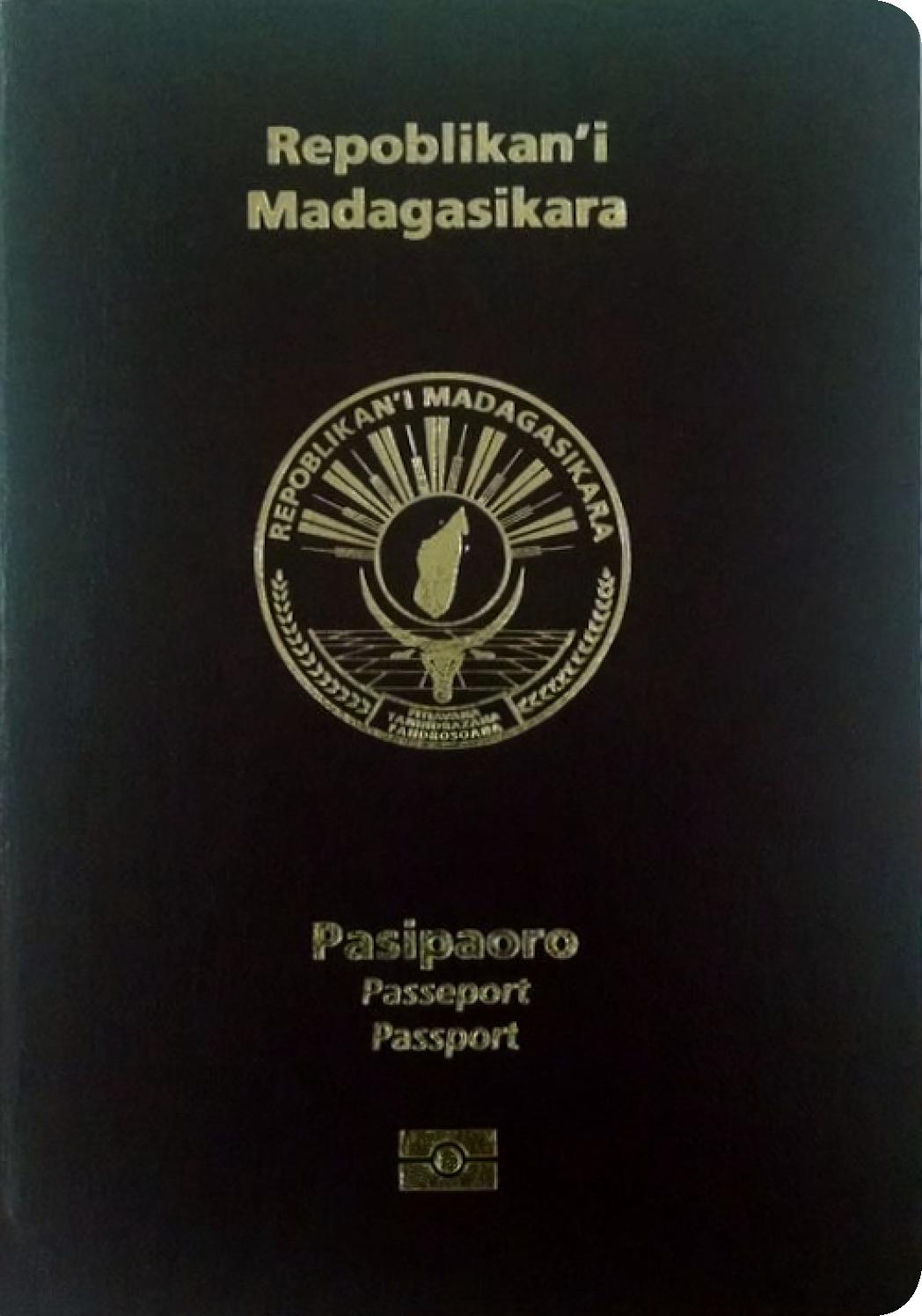 A regular or ordinary Madagascar passport - Front side