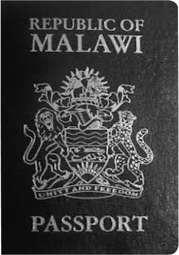 A regular or ordinary Malawian passport - Front side