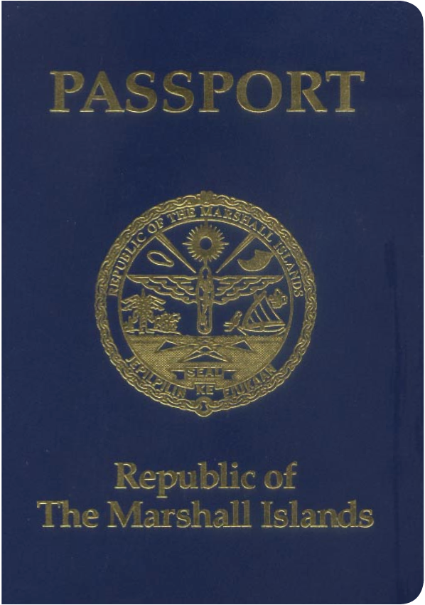 A regular or ordinary Marshall Islands passport - Front side