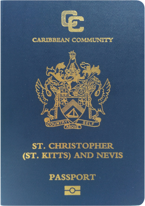 A regular or ordinary Saint Kitts and Nevis passport - Front side