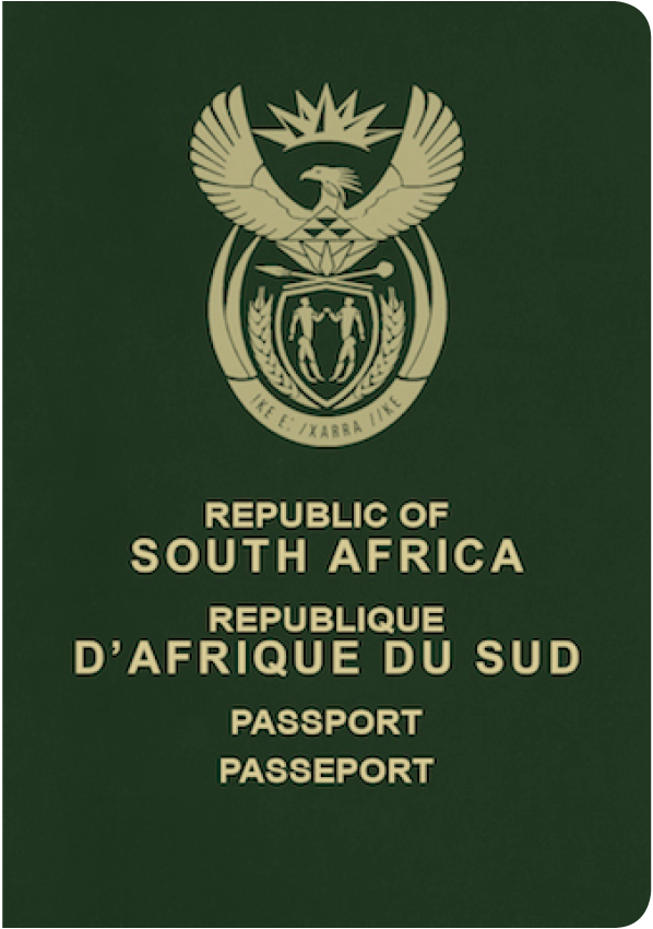 A regular or ordinary South African passport - Front side