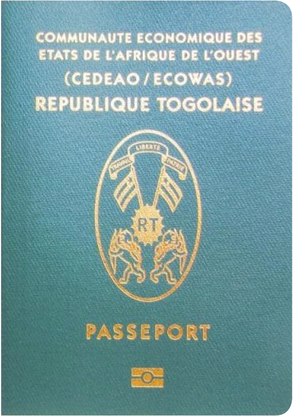 A regular or ordinary Togolese passport - Front side