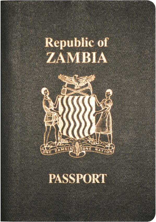 A regular or ordinary Zambian passport - Front side